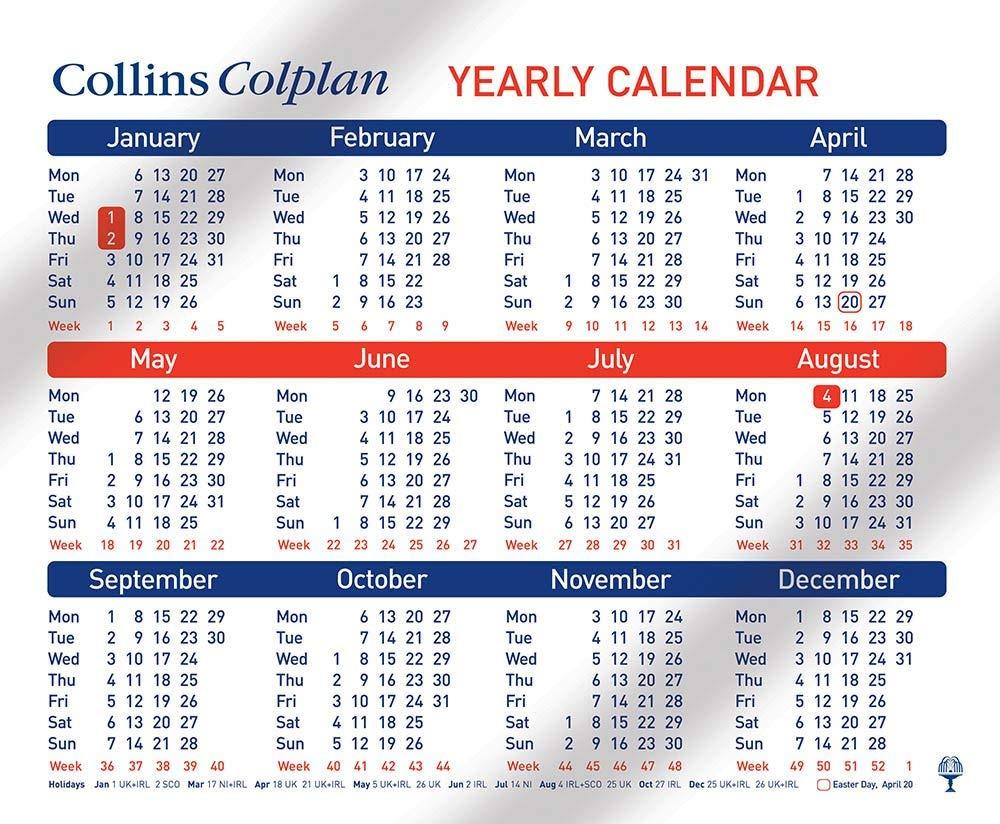 Collins Colplan A4 Yearly Calendar 2020