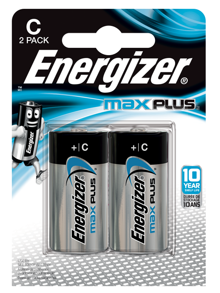Energizer Max Plus C Alkaline Batteries (Pack 2)