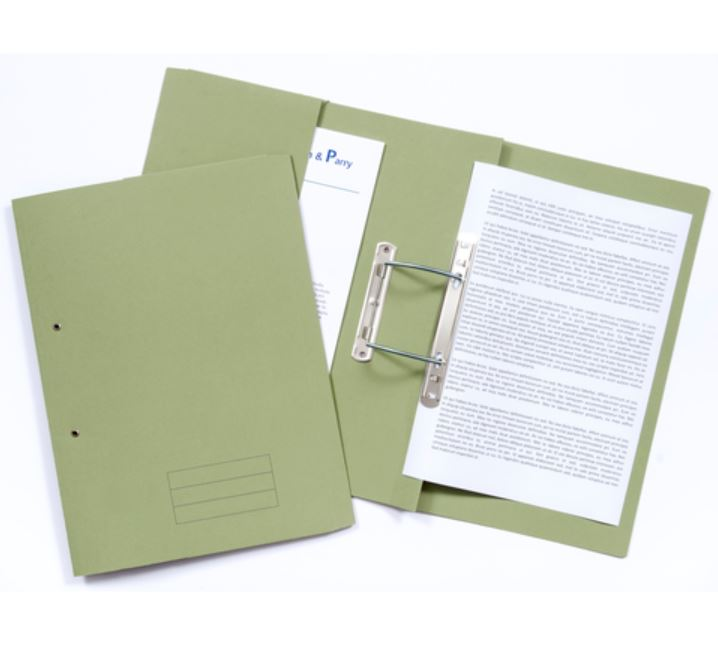 Document Wallets ValueX 285gsm Pocket Spiral File Foolscap Green (Pack 25)