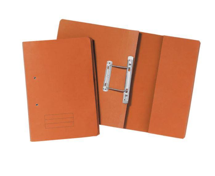 Value 285gsm Pocket Spiral File Foolscap Orange PK25