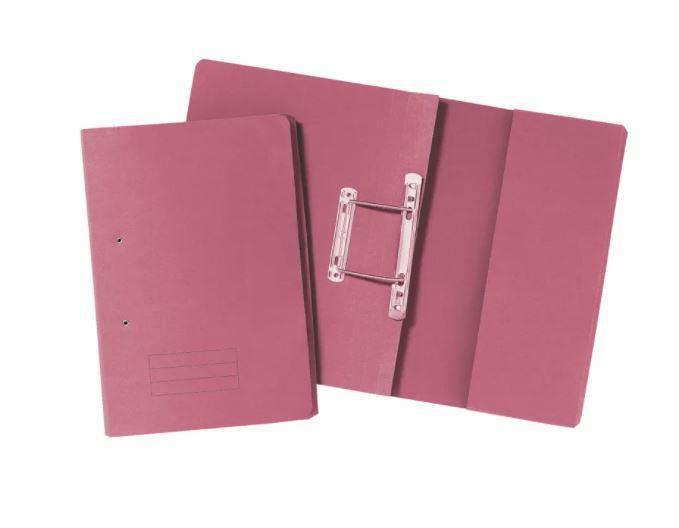 Value 285gsm Pocket Spiral File Foolscap Pink PK25