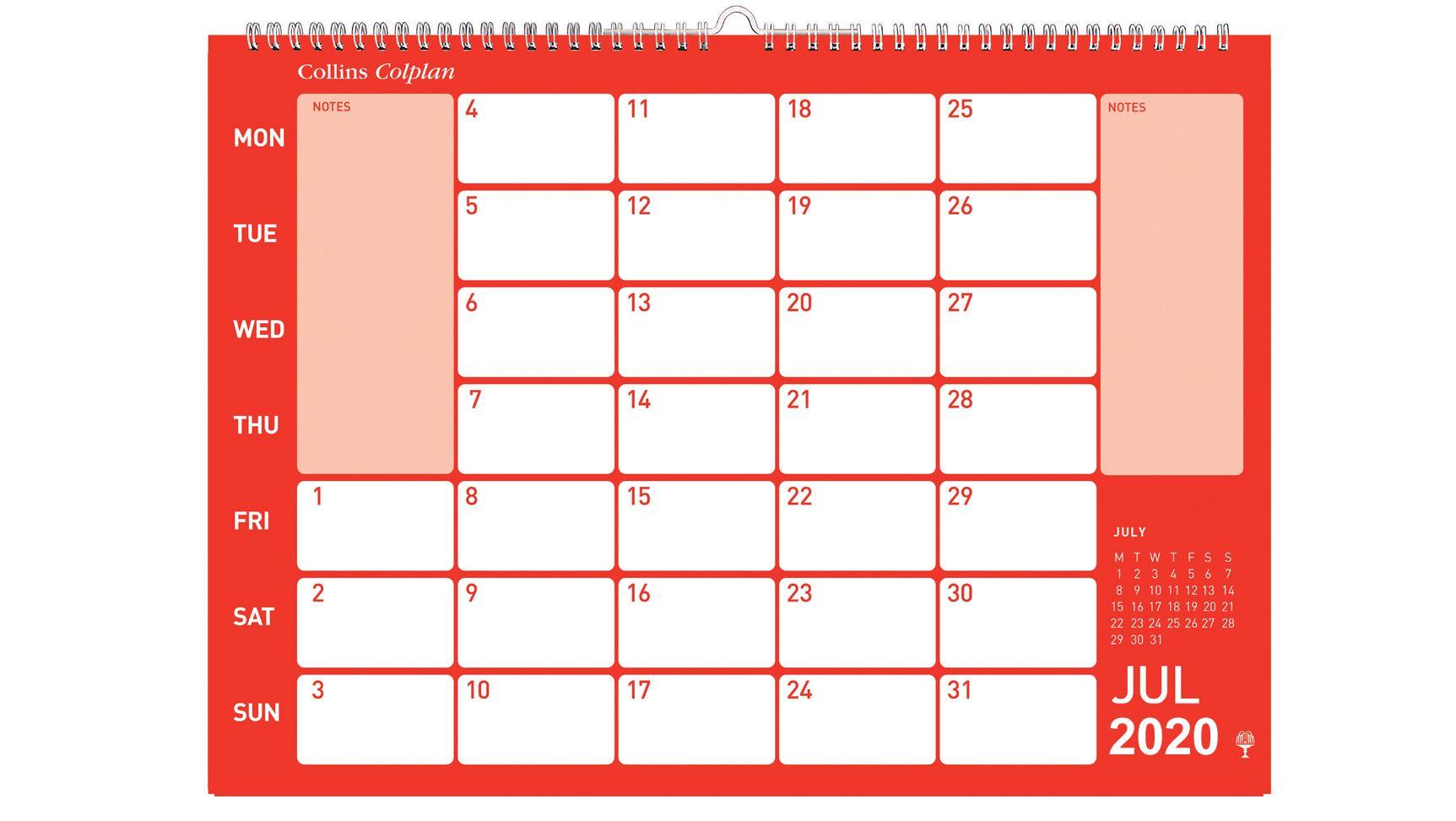 Collins Colplan A4 Memo Wall Calendar 2020