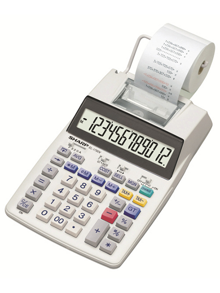 Printing Calculator Sharp EL1750V Printing Calc w/o adaptor 12 Digit Angled Disp