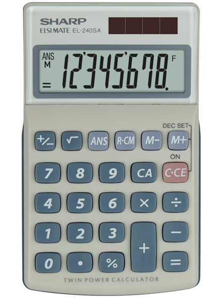 Handheld Calculator Sharp EL240SAB Handheld Calculator 8 Digit Angled Display