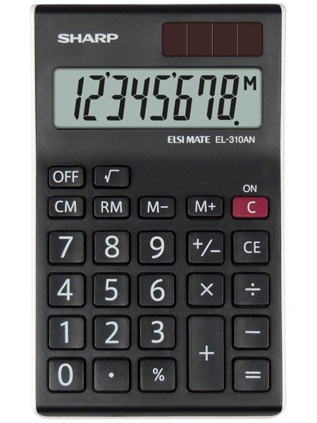 Sharp EL310ANWH Desktop Calculator 8 Digit Angled Display