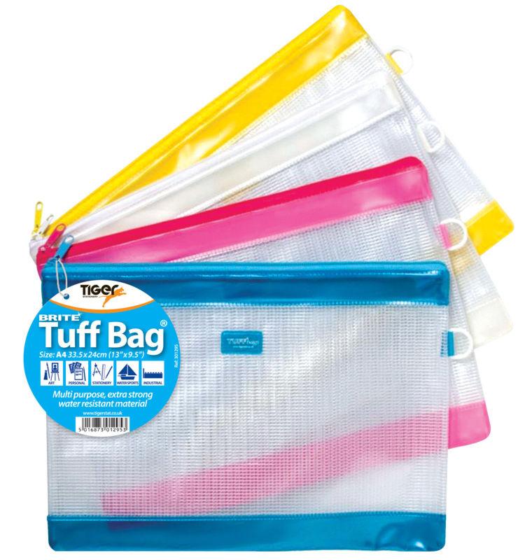 Zip Bags Tiger Tuff Bag A4 Brite Colours