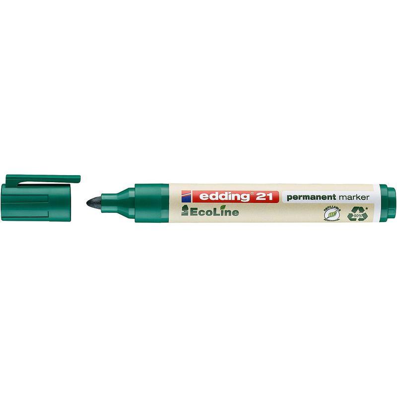 edding 21 EcoLine Permanent Bullet Tip Marker Green PK10
