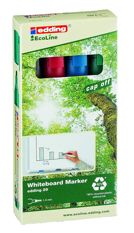 edding 29 EcoLine Whiteboard Chisel Tip Marker Assorted PK4