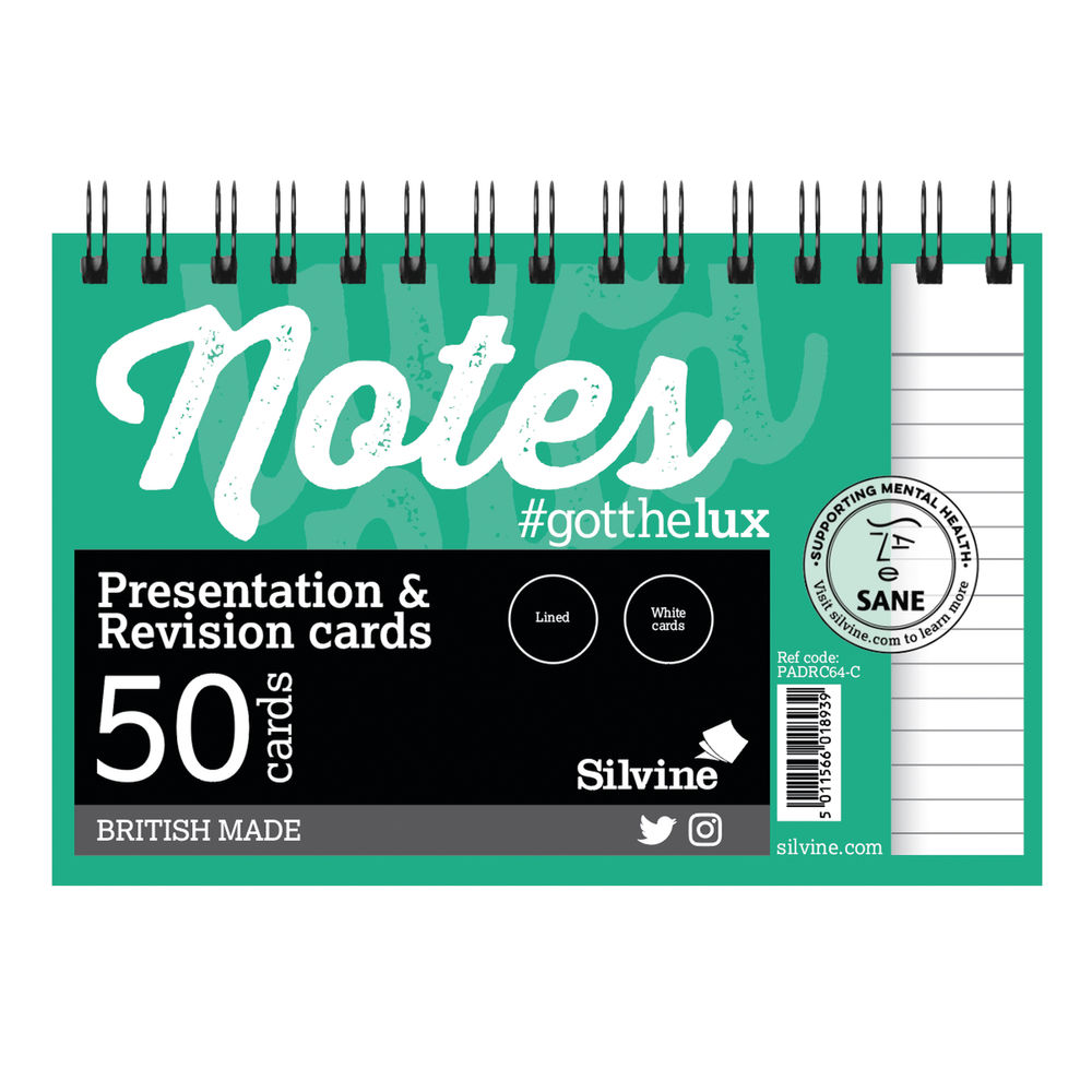 Silvine Rev Note Cards Wire WH PK50