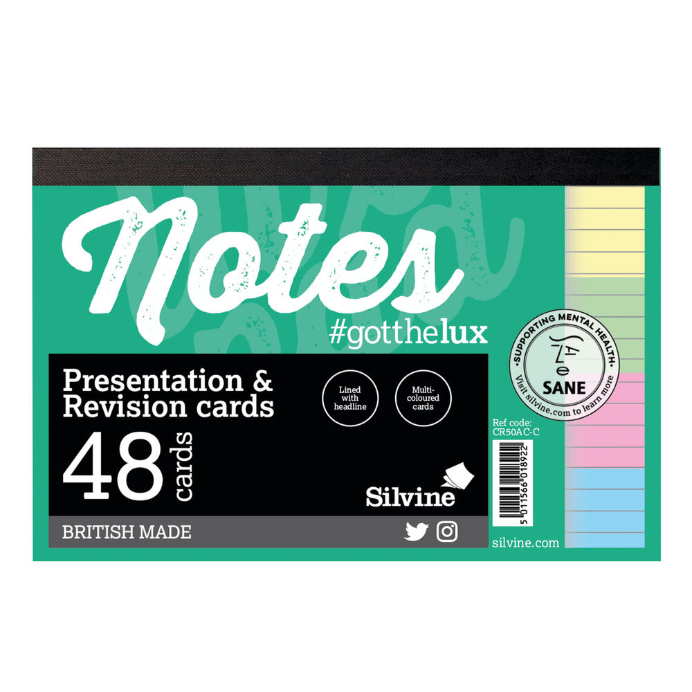 Silvine Rev Note Cards Asst PK48