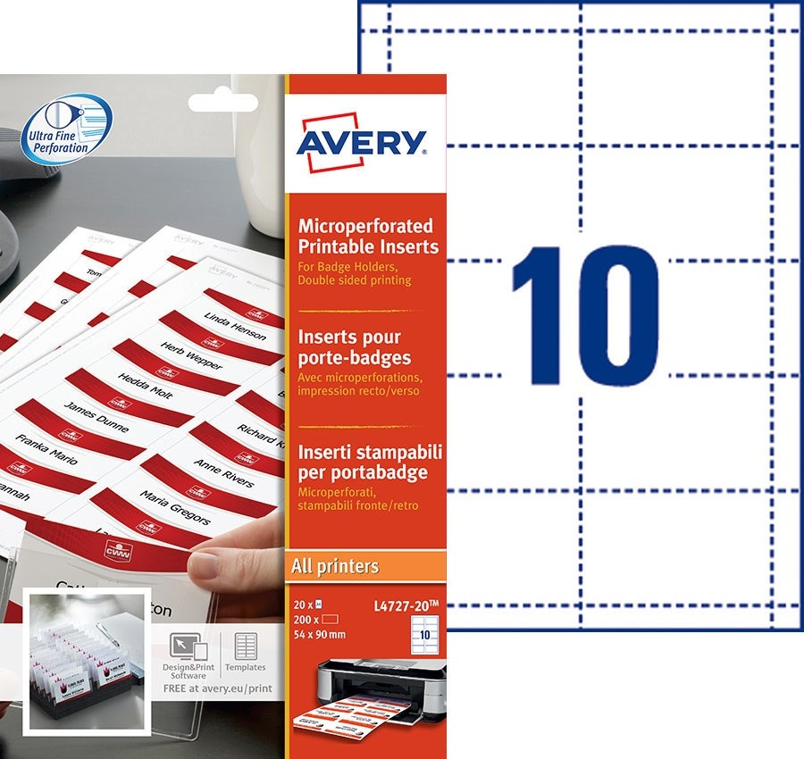 Avery Microperforated Printable Inserts 54x90mm PK200