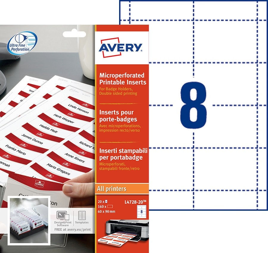 Avery Microperforated Printable Inserts 60x90mm PK160