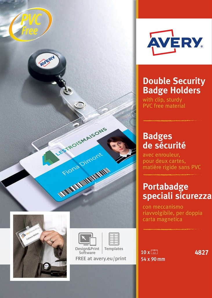 Avery Double Security Badge Holders with Clip 54x90mm PK10
