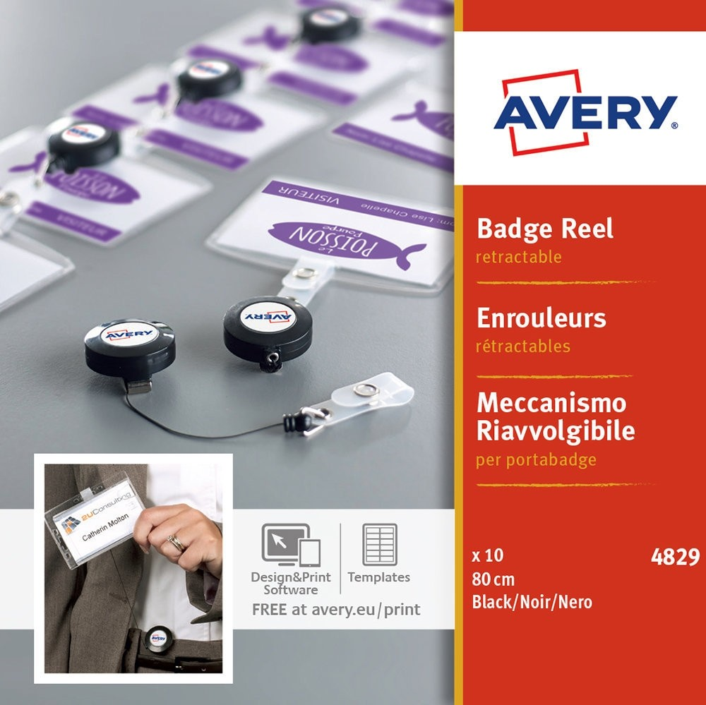 Avery 4829 Badge Reels for Name Badges 800mm Black PK10