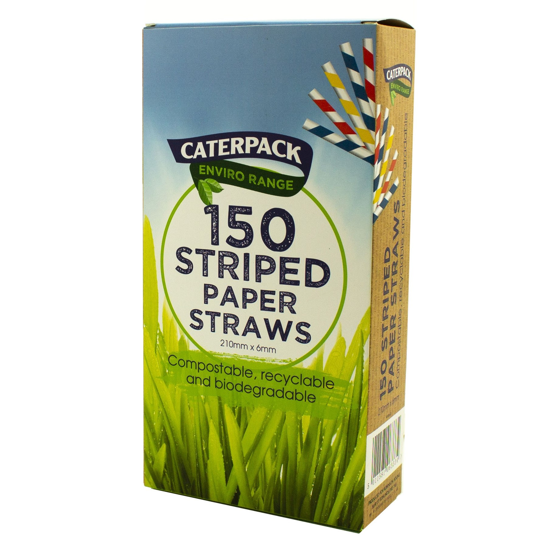 Drinks Stirrers & Straws Enviro Paper straws Striped pk 150
