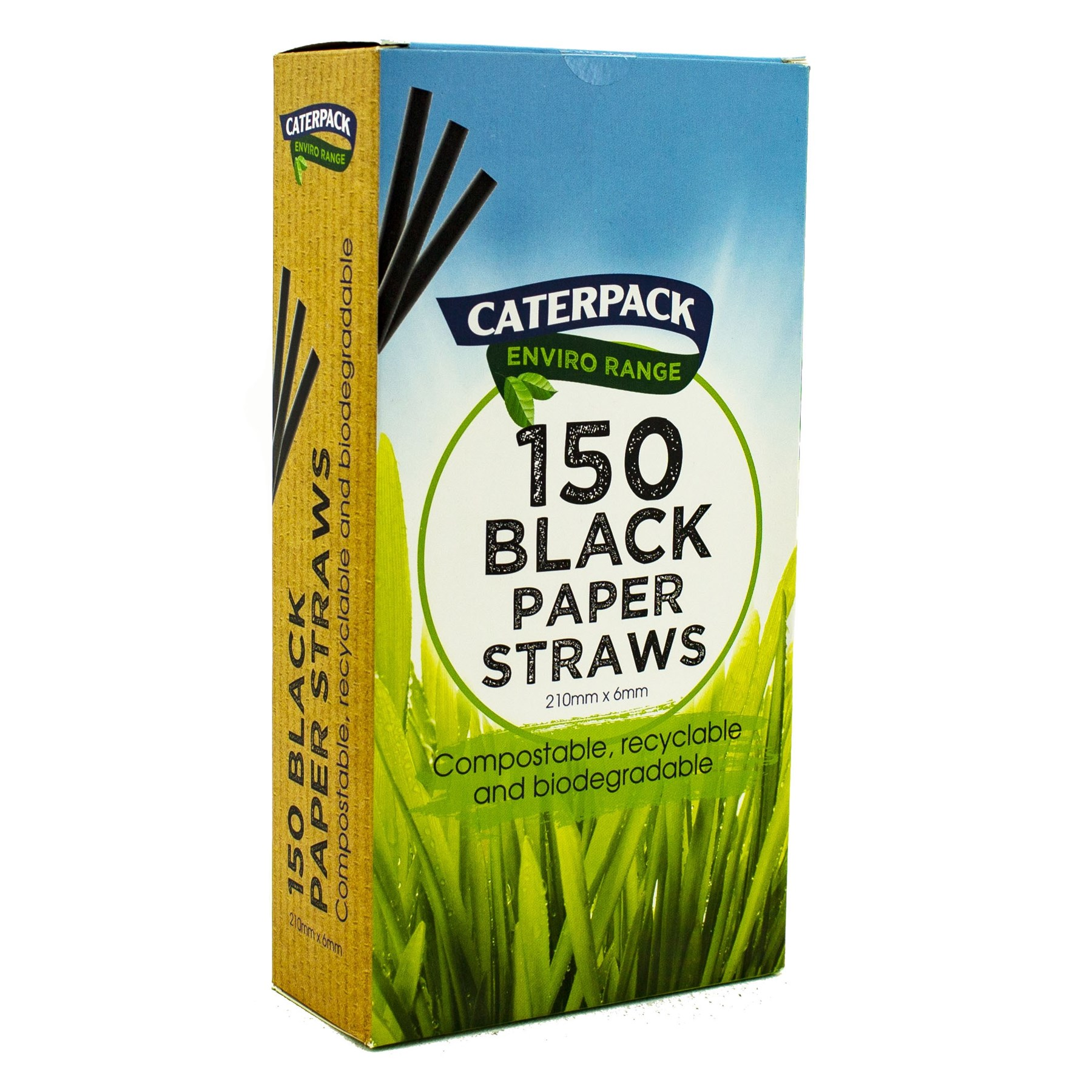 Drinks Stirrers & Straws Enviro Paper straws Black pk 150