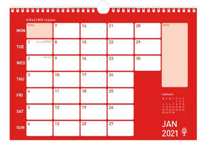 Calendars Collins Colplan CMC A3 2021 Memo Calendar