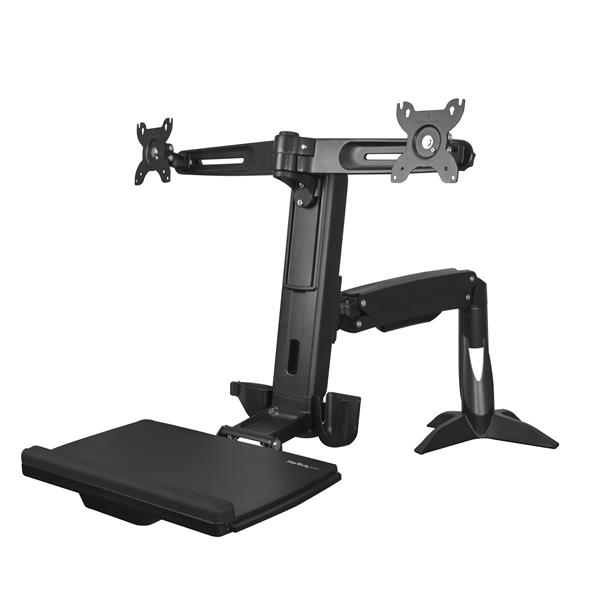 Sit Stand Dual Monitor Arm Up to 24in