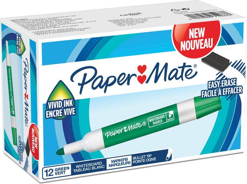 Drywipe Markers Paper Mate Whiteboard Marker Bullet Tip Green PK12
