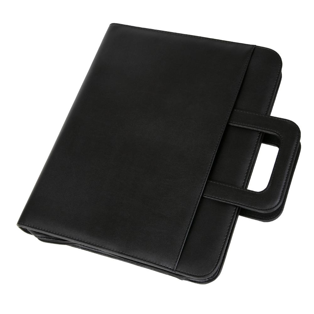 Potfolios Alassio Leonardo A4 Organiser File Leather Black