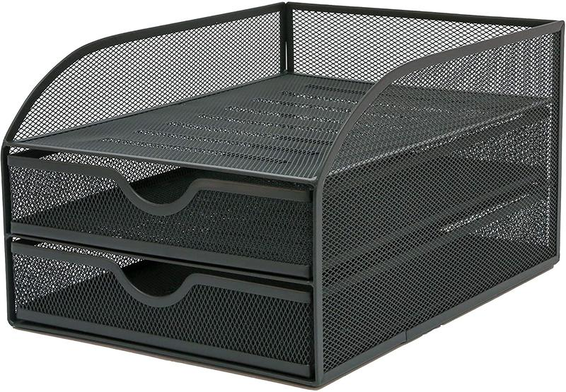 OSCO Graphite Wiremesh Triple Letter Tray with 2 Drawers