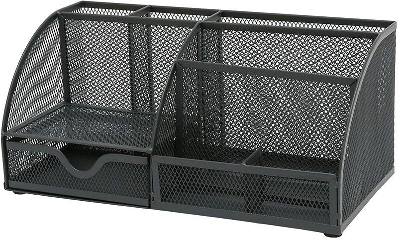 OSCO Large Wiremesh Desk Organiser Graphite