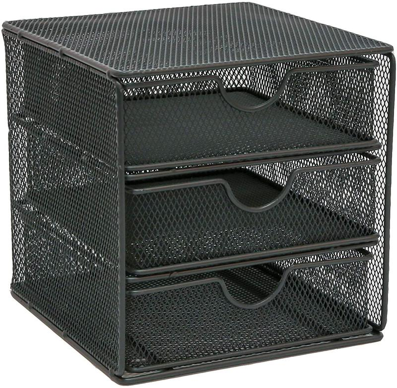 Letter Trays OSCO SM3DSSLV Small Wire Mesh 3 Drawer Chest Graphite
