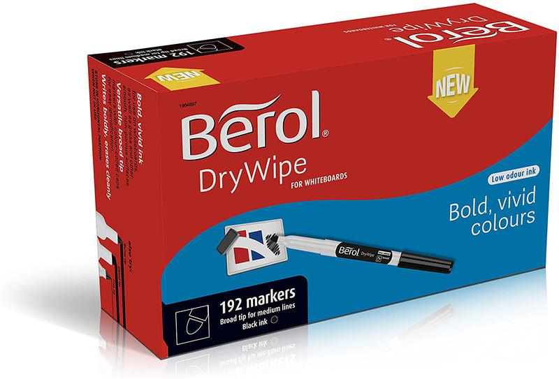 Berol Dry Wipe Whiteboard Marker Broad 1.6mm Black (Pack 192)