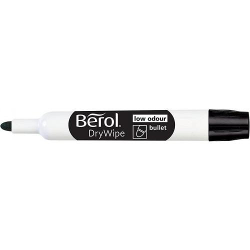 Berol Dry Wipe Whiteboard Marker Bullet Nib 2mm Black (Pack 48)