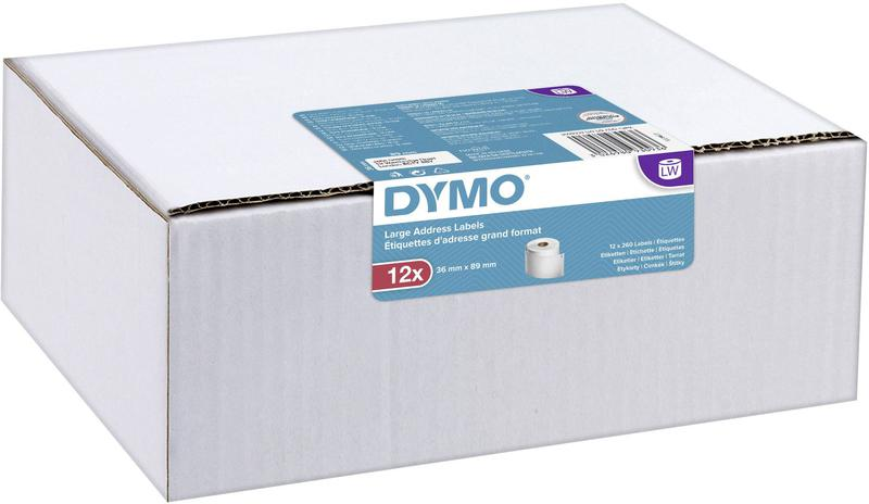 Labelling Tapes & Labels Dymo Label Writer Large Address Labels 36mmx89mm 12 Pack