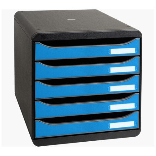 Drawers Exacompta CleanSafe Big Box Plus 5 Drawer Set Open Blue