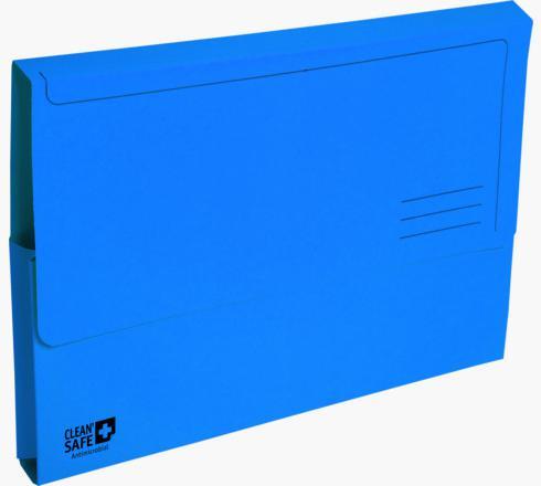Exacompta CleanSafe Document Wallet Manilla Foolscap Half Flap 400gsm Blue (Pack 5)