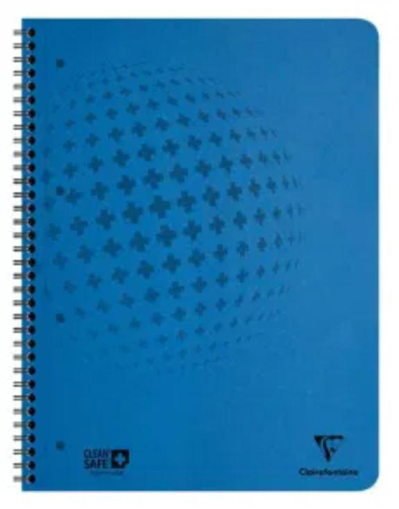 Spiral Note Books Clairefontaine CleanSafe A4 Plus Wirebound Pressboard Notebook Ruled 120 Pages Blue (Pack 5)