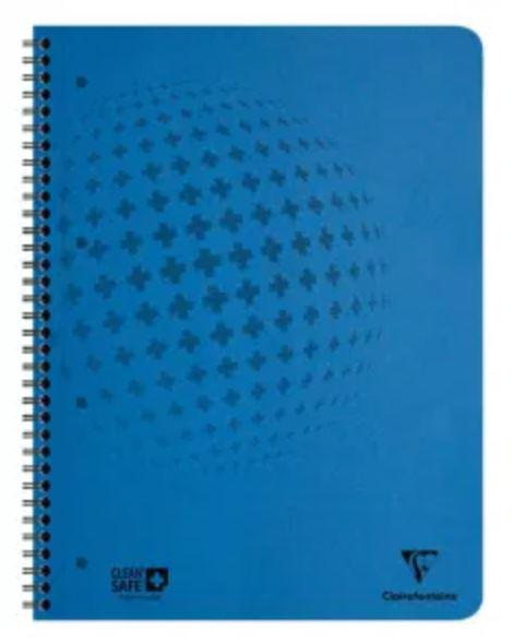 Spiral Note Books Clairefontaine CleanSafe A4 Wirebound Pressboard Notebook Ruled 120 Pages Blue (Pack 5)