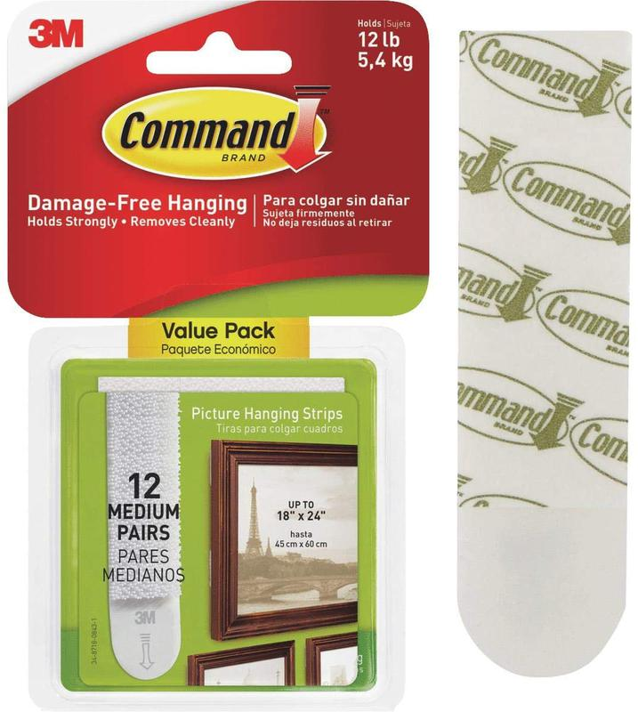 Command Picture Hanging Strips White Med Strips PK12 17204
