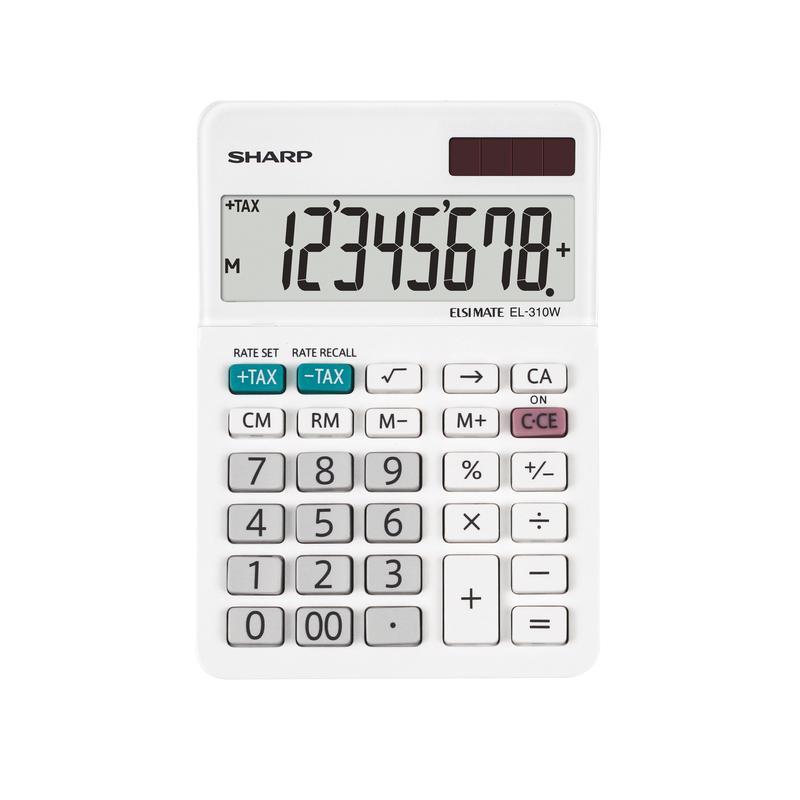 Sharp EL310W B 8 Digit Desktop Calculator White