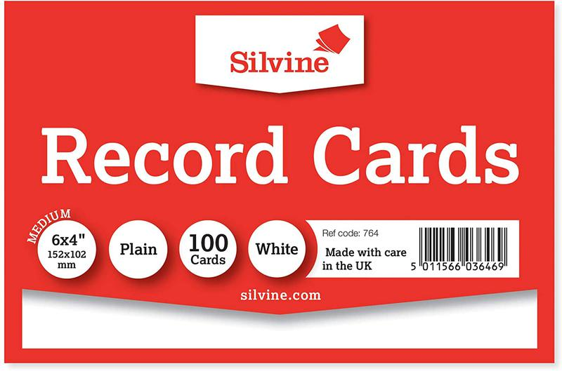 Value Record Cards Ruled 6X4in 152x102mm Plain White Pack100