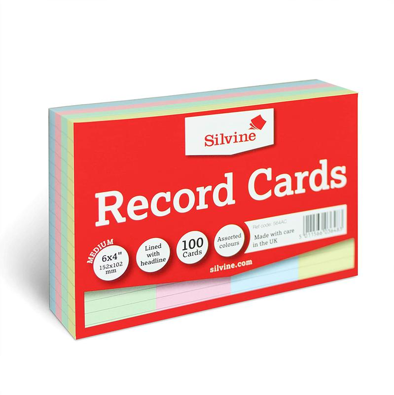 Value Record Cards 6x4in 152x102mm Astd Colours Pk100