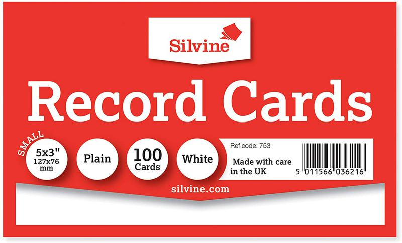 Value Record Cards Ruled Both Sides 5X3in 127x76mm Plain White Pack 100