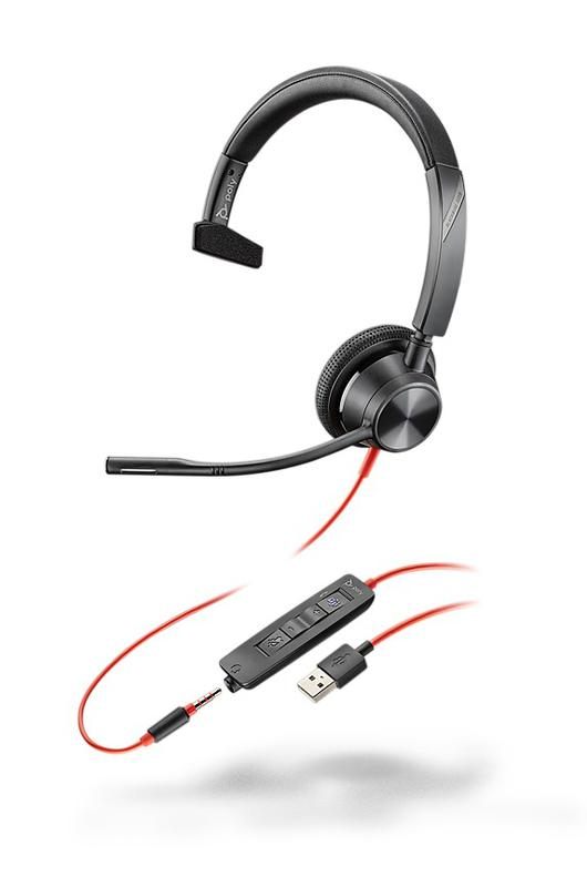 Headsets Blackwire 3315 USB A MS Monaural Headset