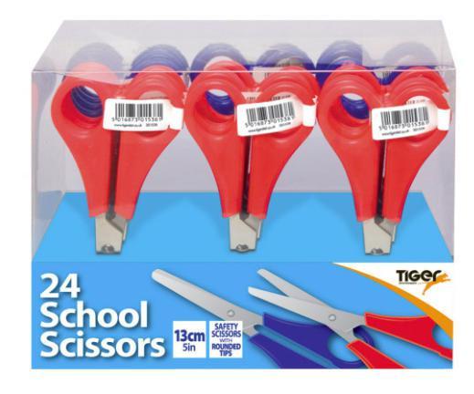 Scissors ValueX School Scissors 130mm Assorted Colours (Pack 24)