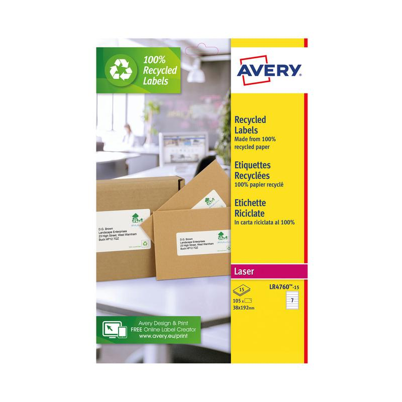 Avery Recycled Filing Label Lever Arch File 192x38mm 7 Per A4 Sheet White (Pack 105 Labels) LR4760-15