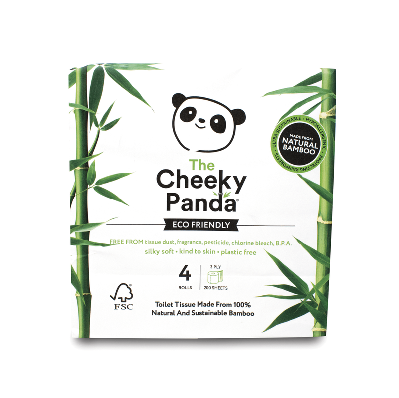 Toilet Tissue & Dispensers Cheeky Panda Ultra-Sustainable Plastic Free Bamboo Toilet Tissue Pack 4 1102181
