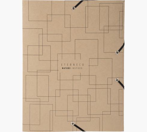 Box Files Exacompta Eterneco Filing Box Coated Card A4 40mm Spine Width Elastic Closure Brown Geometrical Design (Pack 8)