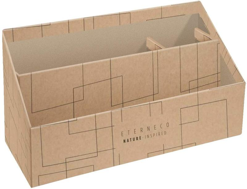 Eterneco Vertical Sorter/Letter Holder 3 Compartment Coated Card Brown Geometrical Design