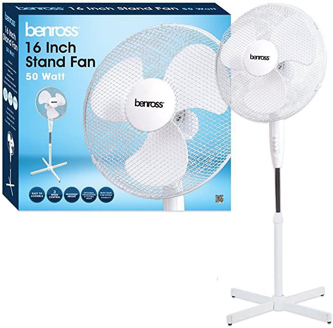 Floor Standing ValueX 16 Inch Floor Standing Fan 3 Speed Oscillating and Adjustable Height 43930