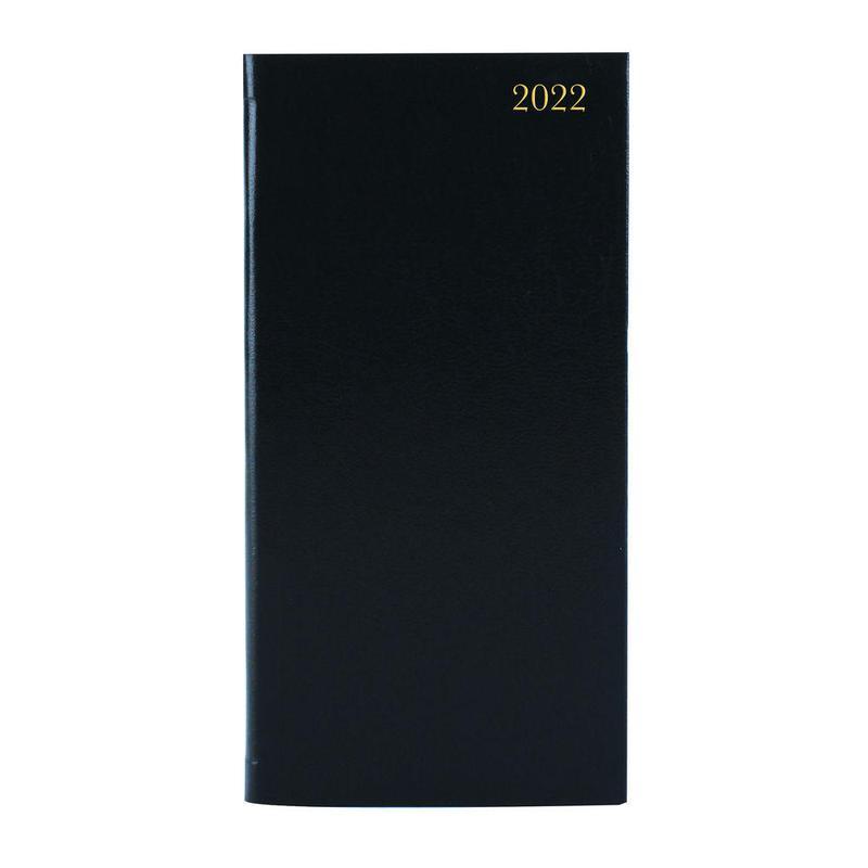 Diaries ValueX Slim Pocket Diary Week To View 2022 BK BUSSLIM1 Black