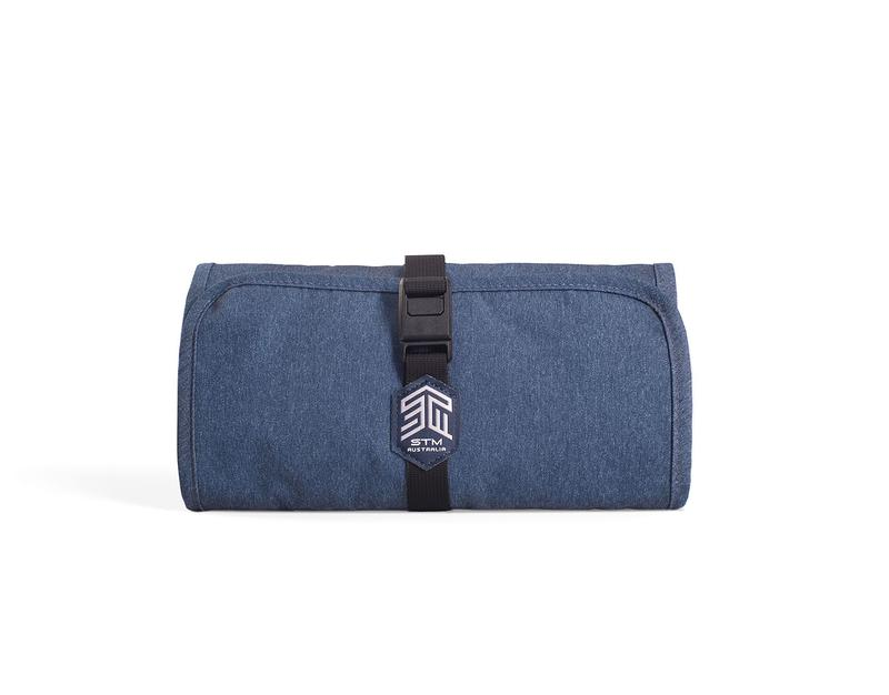 STM Dapper Wrapper Equipment Storage Case Slate Blue Organise Accessories Neatly Impressively Compact Secure Magnetic Closure