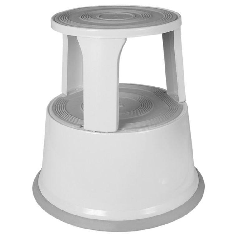 ValueX Metal Step Stool With Castors Grey 7RLSTEP-GY