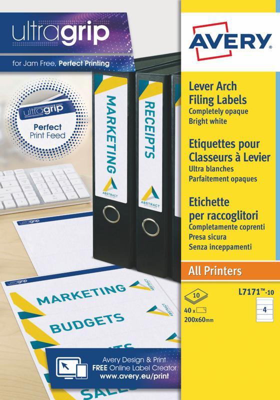 Lever Arch Labels Laser 200x60mm White 4 labels per sheet 40 labels per pack